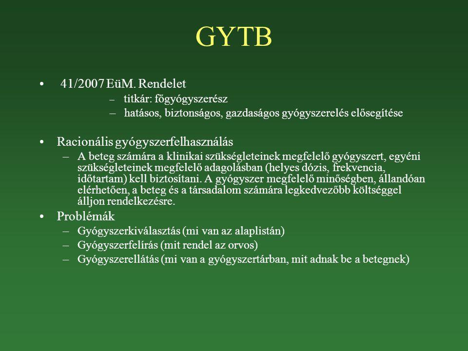 GYTB 41/2007 EüM. Rendelet – titkár: főgyógyszerész – hatásos, biztonságos, gazdaságos gyógyszerelés elősegítése Racionális gyógyszerfelhasználás –A b