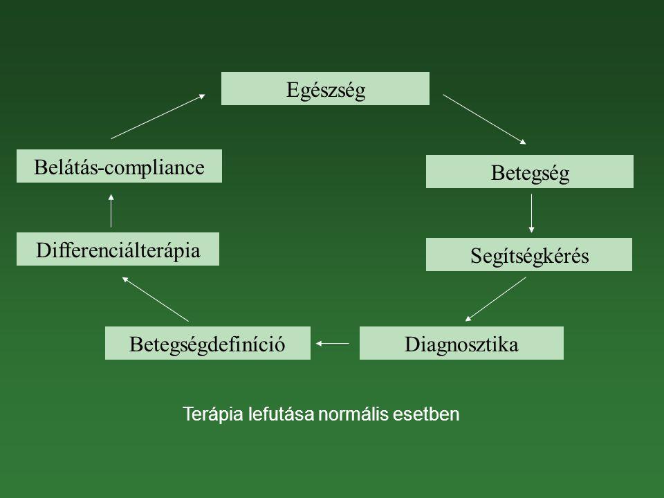 Egészség Betegség Segítségkérés DiagnosztikaBetegségdefiníció Differenciálterápia Belátás-compliance Terápia lefutása normális esetben