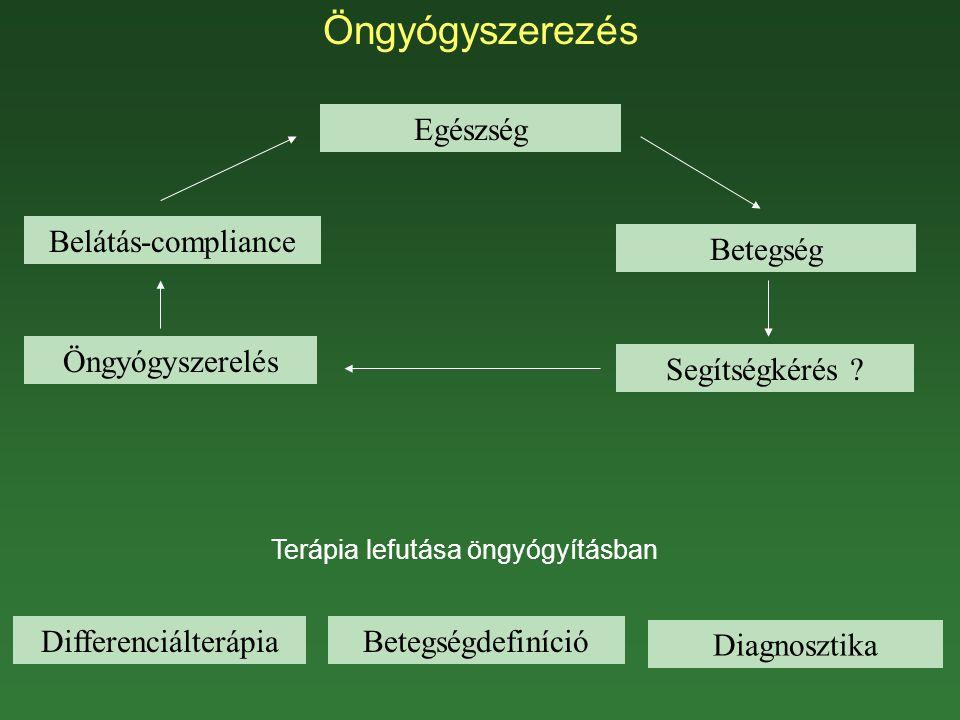 Öngyógyszerezés Egészség Betegség Segítségkérés ? Diagnosztika Betegségdefiníció Öngyógyszerelés Belátás-compliance Terápia lefutása öngyógyításban Di