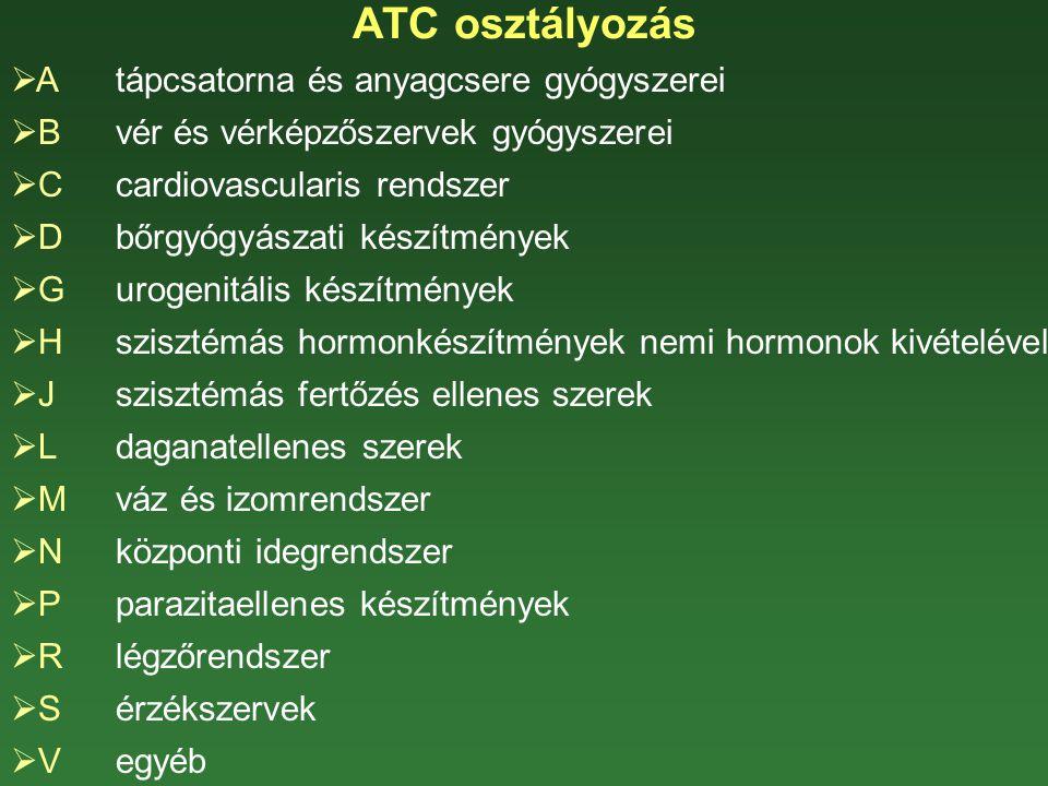 ATC osztályozás  Atápcsatorna és anyagcsere gyógyszerei  Bvér és vérképzőszervek gyógyszerei  Ccardiovascularis rendszer  D bőrgyógyászati készítm