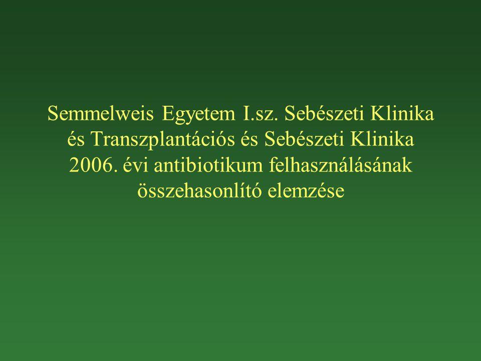 Semmelweis Egyetem I.sz. Sebészeti Klinika és Transzplantációs és Sebészeti Klinika 2006. évi antibiotikum felhasználásának összehasonlító elemzése