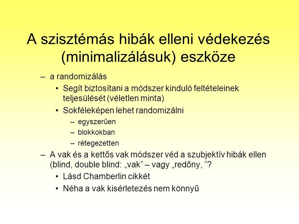 A szisztémás hibák elleni védekezés (minimalizálásuk) eszköze –a randomizálás Segít biztosítani a módszer kinduló feltételeinek teljesülését (véletlen