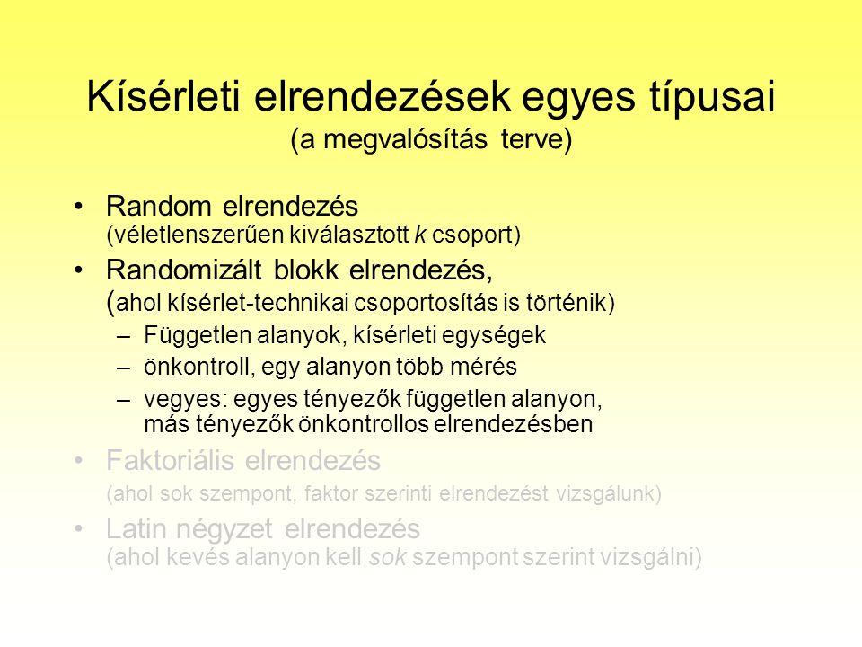 Kísérleti elrendezések egyes típusai (a megvalósítás terve) Random elrendezés (véletlenszerűen kiválasztott k csoport) Randomizált blokk elrendezés, (