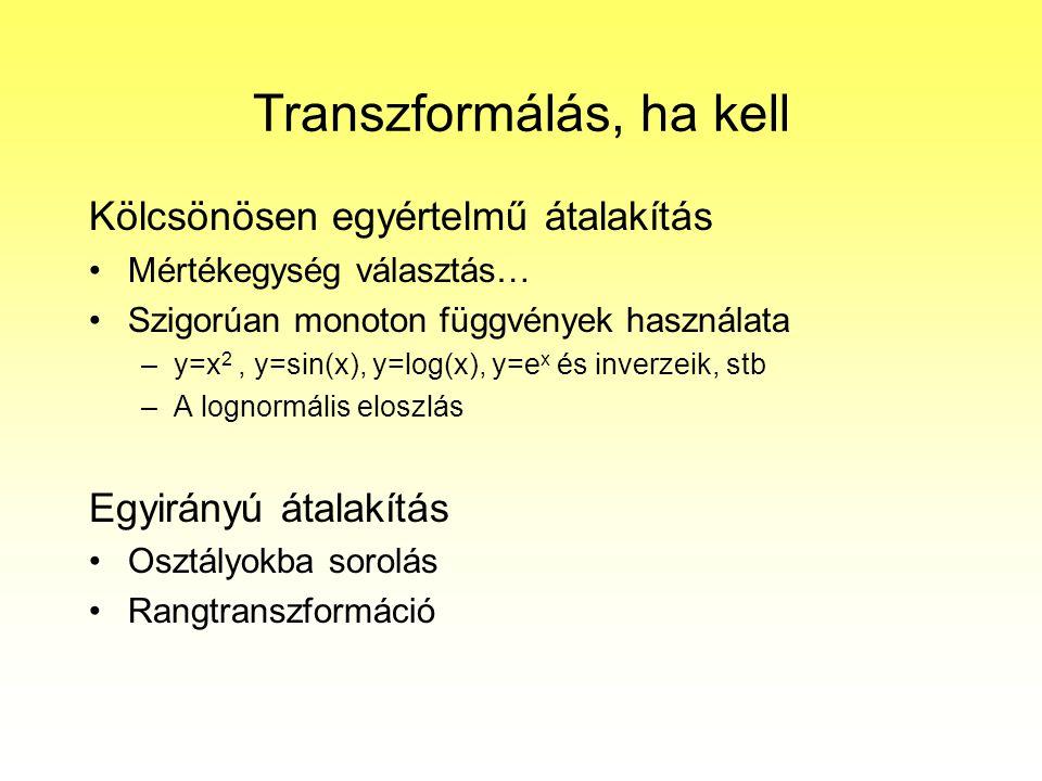 Transzformálás, ha kell Kölcsönösen egyértelmű átalakítás Mértékegység választás… Szigorúan monoton függvények használata –y=x 2, y=sin(x), y=log(x),