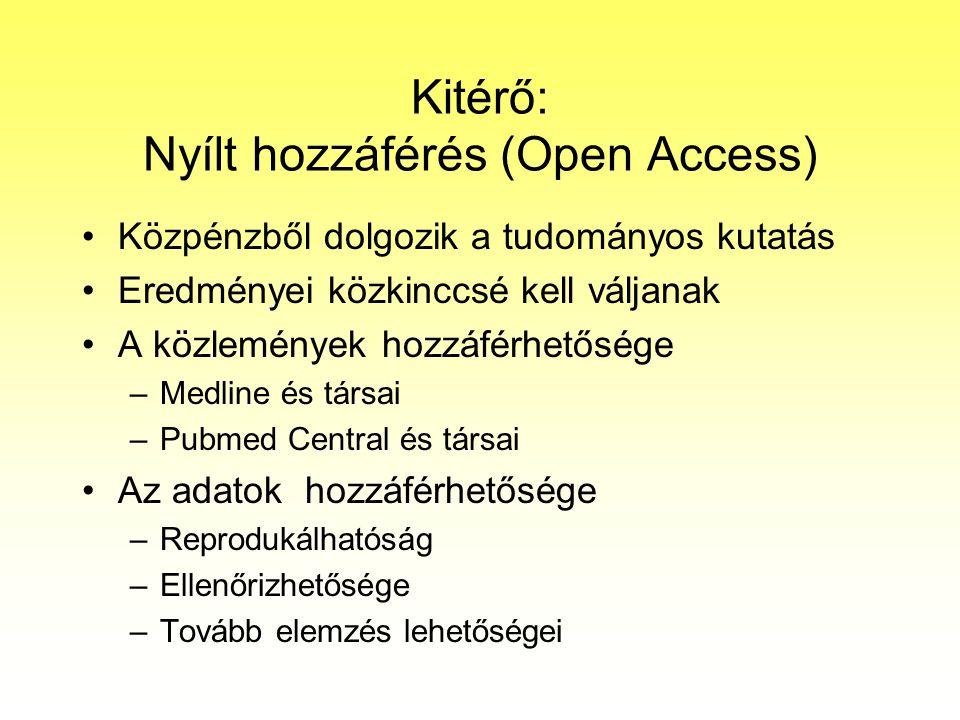 Kitérő: Nyílt hozzáférés (Open Access) Közpénzből dolgozik a tudományos kutatás Eredményei közkinccsé kell váljanak A közlemények hozzáférhetősége –Me