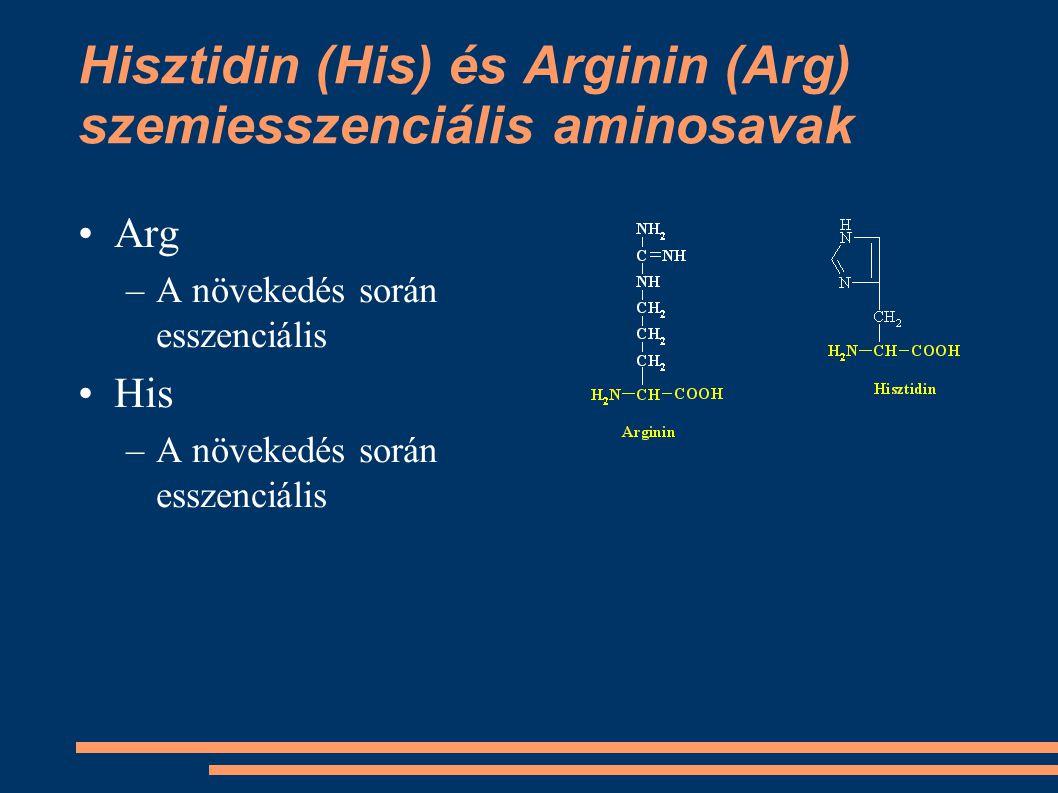 Hisztidin (His) és Arginin (Arg) szemiesszenciális aminosavak Arg –A növekedés során esszenciális His –A növekedés során esszenciális