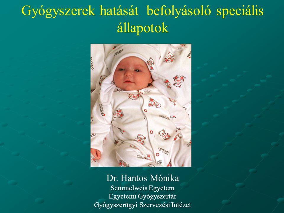 Gyógyszerek hatását befolyásoló speciális állapotok Dr. Hantos Mónika Semmelweis Egyetem Egyetemi Gyógyszertár Gyógyszerügyi Szervezési Intézet