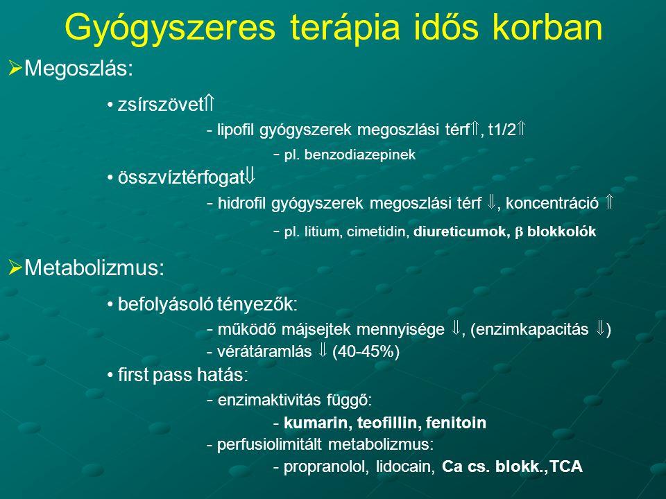  Megoszlás: zsírszövet  - lipofil gyógyszerek megoszlási térf , t1/2  - pl. benzodiazepinek összvíztérfogat  - hidrofil gyógyszerek megoszlási té