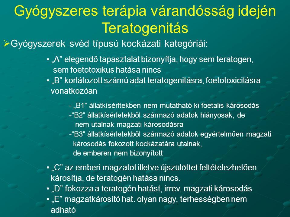 """ Gyógyszerek svéd típusú kockázati kategóriái: """"A elegendő tapasztalat bizonyítja, hogy sem teratogen, sem foetotoxikus hatása nincs """"B korlátozott számú adat teratogenitásra, foetotoxicitásra vonatkozóan - """"B1 állatkísérltekben nem mutatható ki foetalis károsodás - B2 állatkísérletekből származó adatok hiányosak, de nem utalnak magzati károsodásra - B3 állatkísérletekből származó adatok egyértelműen magzati károsodás fokozott kockázatára utalnak, de emberen nem bizonyított """"C az emberi magzatot illetve újszülöttet feltételezhetően károsítja, de teratogén hatása nincs."""