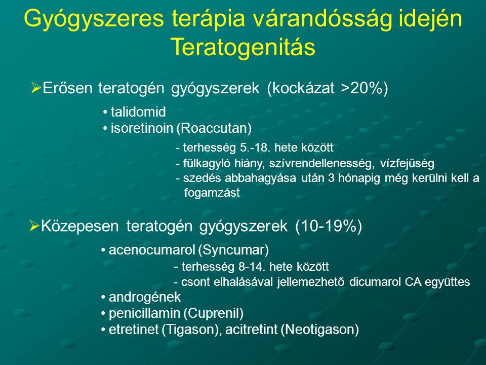  Erősen teratogén gyógyszerek (kockázat >20%) talidomid isoretinoin (Roaccutan) - terhesség 5.-18. hete között - fülkagyló hiány, szívrendellenesség,