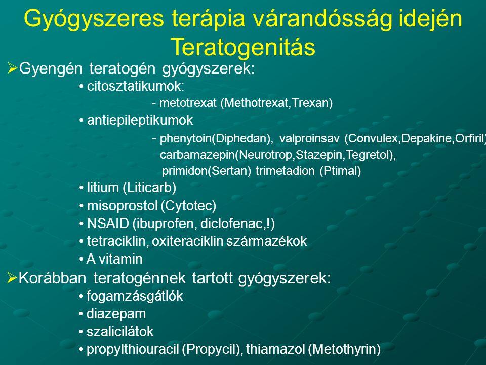  Gyengén teratogén gyógyszerek: citosztatikumok: - metotrexat (Methotrexat,Trexan) antiepileptikumok - phenytoin(Diphedan), valproinsav (Convulex,Depakine,Orfiril) carbamazepin(Neurotrop,Stazepin,Tegretol), primidon(Sertan) trimetadion (Ptimal) litium (Liticarb) misoprostol (Cytotec) NSAID (ibuprofen, diclofenac,!) tetraciklin, oxiteraciklin származékok A vitamin  Korábban teratogénnek tartott gyógyszerek: fogamzásgátlók diazepam szalicilátok propylthiouracil (Propycil), thiamazol (Metothyrin) Gyógyszeres terápia várandósság idején Teratogenitás