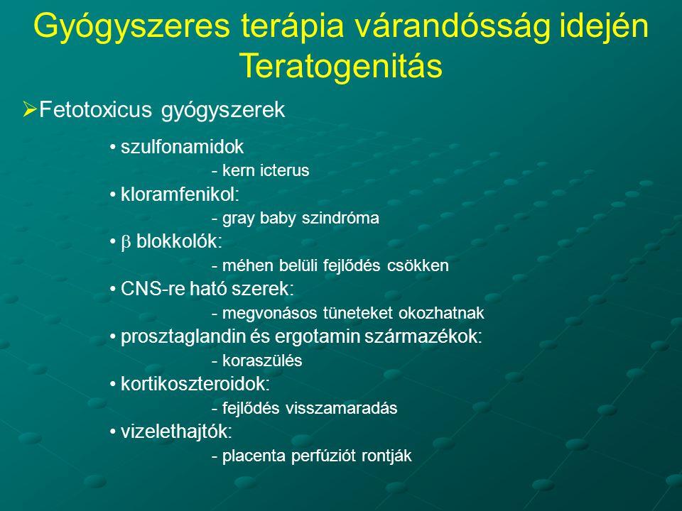  Fetotoxicus gyógyszerek szulfonamidok - kern icterus kloramfenikol: - gray baby szindróma  blokkolók: - méhen belüli fejlődés csökken CNS-re ható szerek: - megvonásos tüneteket okozhatnak prosztaglandin és ergotamin származékok: - koraszülés kortikoszteroidok: - fejlődés visszamaradás vizelethajtók: - placenta perfúziót rontják Gyógyszeres terápia várandósság idején Teratogenitás