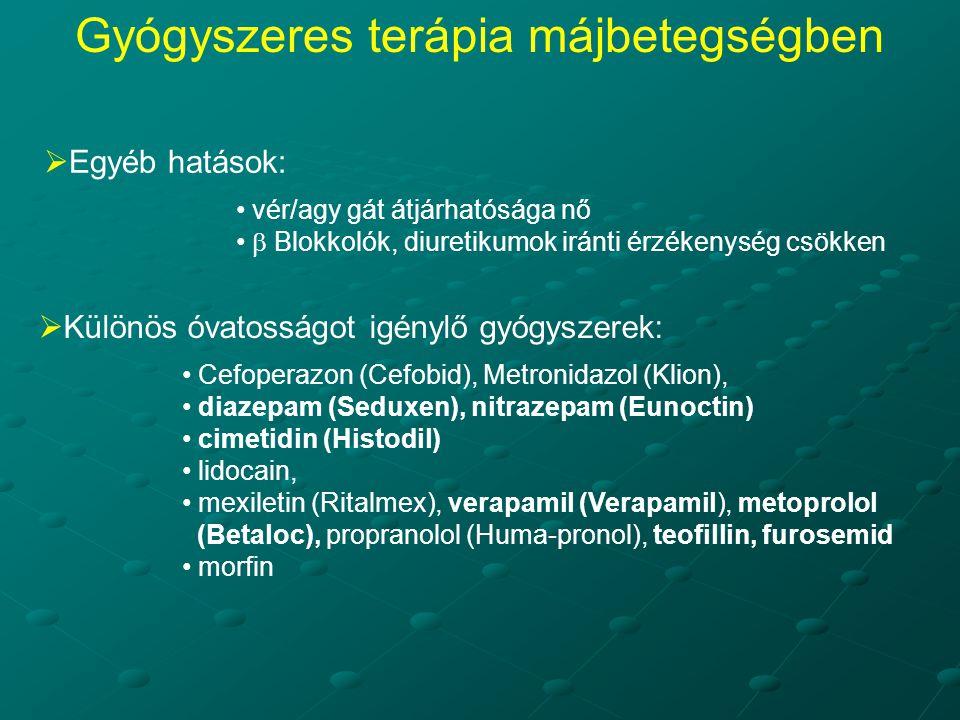  Egyéb hatások: vér/agy gát átjárhatósága nő  Blokkolók, diuretikumok iránti érzékenység csökken  Különös óvatosságot igénylő gyógyszerek: Cefoperazon (Cefobid), Metronidazol (Klion), diazepam (Seduxen), nitrazepam (Eunoctin) cimetidin (Histodil) lidocain, mexiletin (Ritalmex), verapamil (Verapamil), metoprolol (Betaloc), propranolol (Huma-pronol), teofillin, furosemid morfin Gyógyszeres terápia májbetegségben