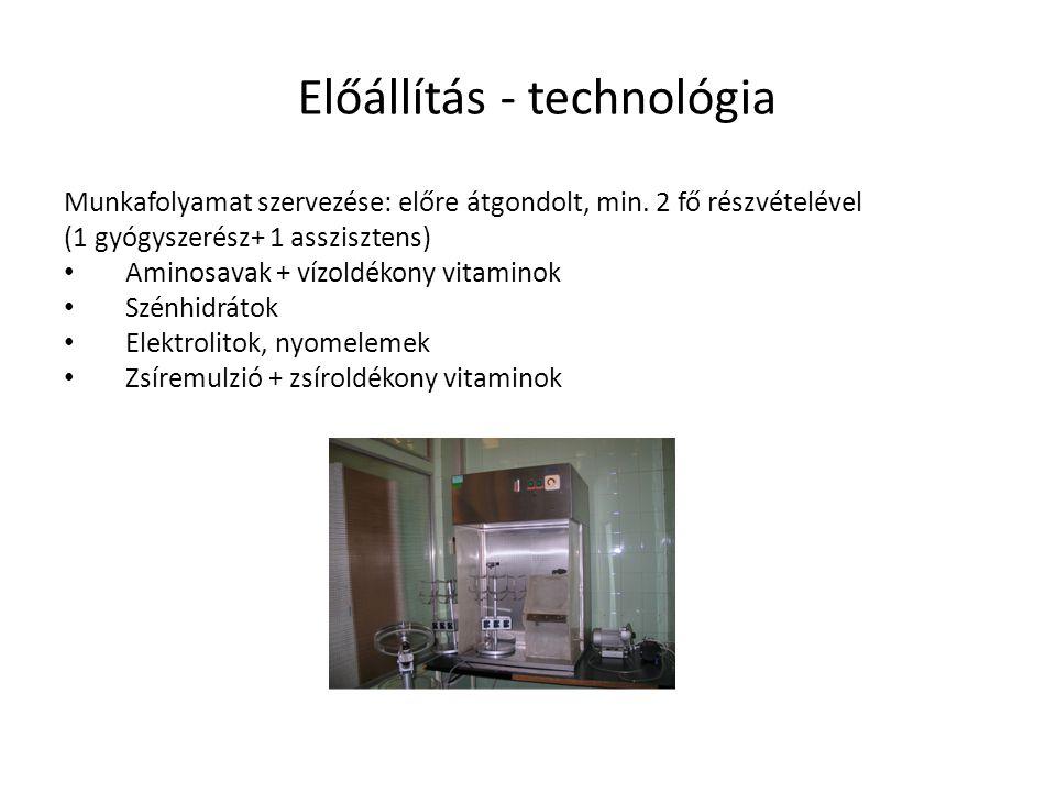 Előállítás - technológia Munkafolyamat szervezése: előre átgondolt, min. 2 fő részvételével (1 gyógyszerész+ 1 asszisztens) Aminosavak + vízoldékony v