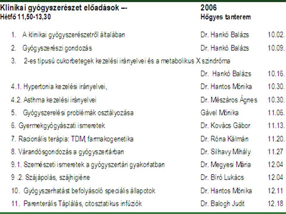 Klinikai Gyógyszerészet Dr. Hankó Balázs Semmelweis Egyetem Egyetemi Gyógyszertár Gyógyszerügyi Szervezési Intézet Klinikai Gyógyszerészet 2006/2007