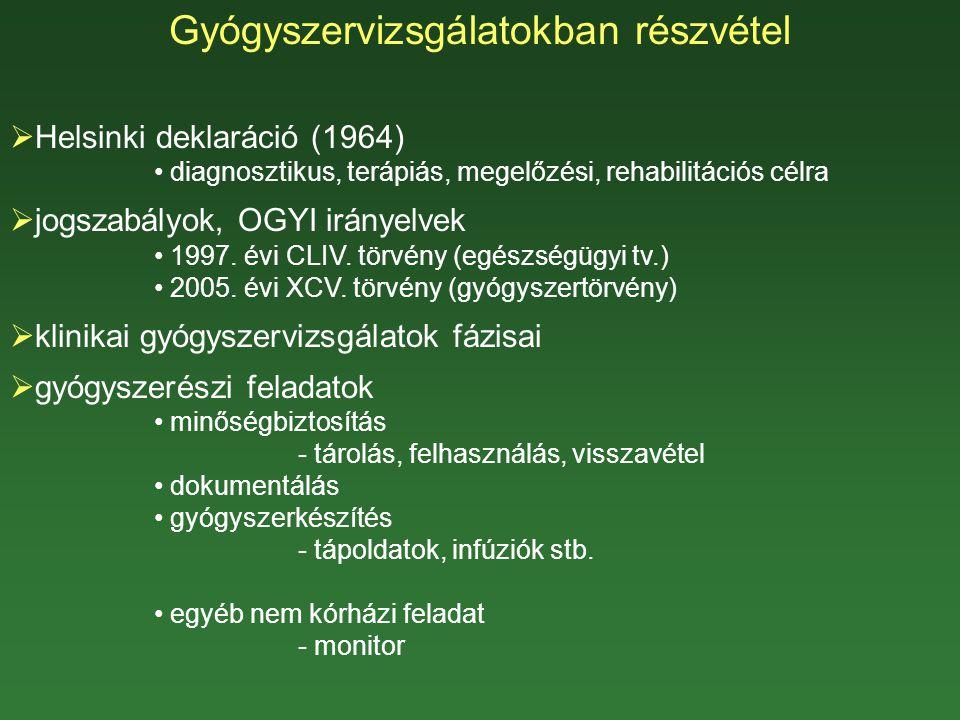 Gyógyszervizsgálatokban részvétel  Helsinki deklaráció (1964) diagnosztikus, terápiás, megelőzési, rehabilitációs célra  jogszabályok, OGYI irányelvek 1997.