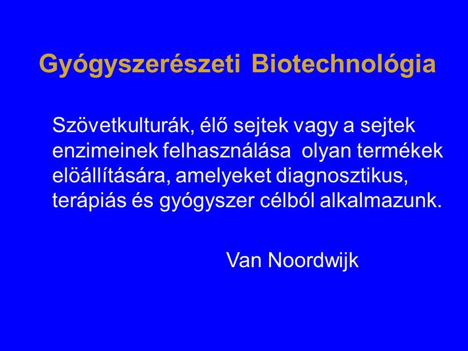 Gyógyszerészeti Biotechnológia Szövetkulturák, élő sejtek vagy a sejtek enzimeinek felhasználása olyan termékek elöállítására, amelyeket diagnosztikus