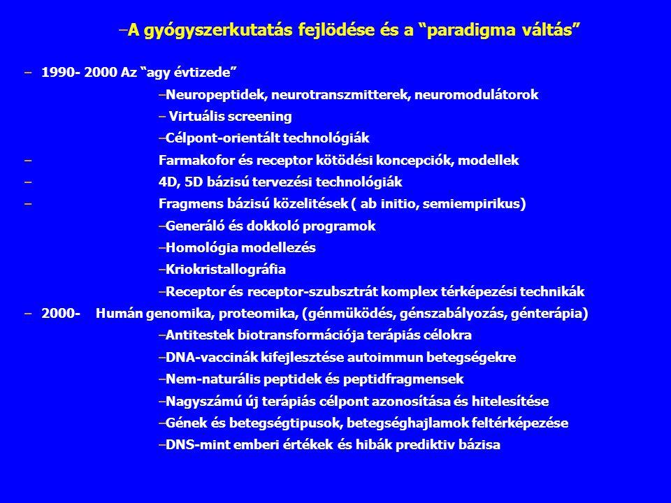 """–1990- 2000 Az """"agy évtizede"""" –Neuropeptidek, neurotranszmitterek, neuromodulátorok – Virtuális screening –Célpont-orientált technológiák –Farmakofor"""