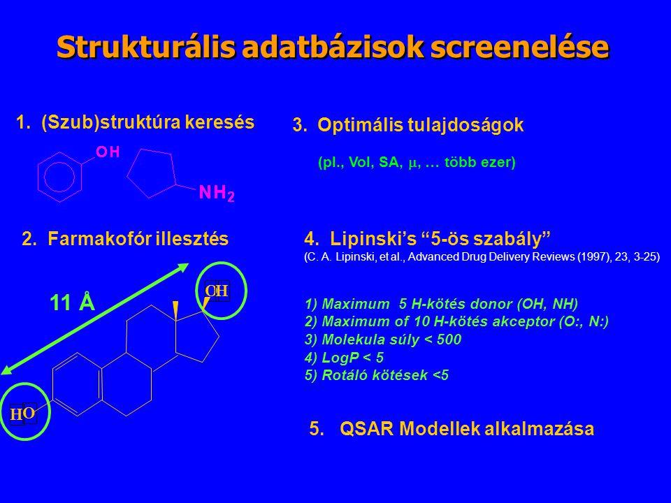 Strukturális adatbázisok screenelése 1. (Szub)struktúra keresés 2. Farmakofór illesztés H O OH 11 Å 3.Optimális tulajdoságok (pl., Vol, SA, , … több