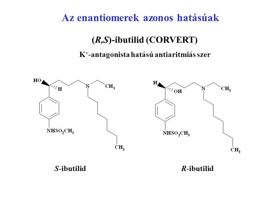 Az enantiomerek azonos hatásúak (R,S)-ibutilid (CORVERT) K + -antagonista hatású antiaritmiás szer S-ibutilidR-ibutilid