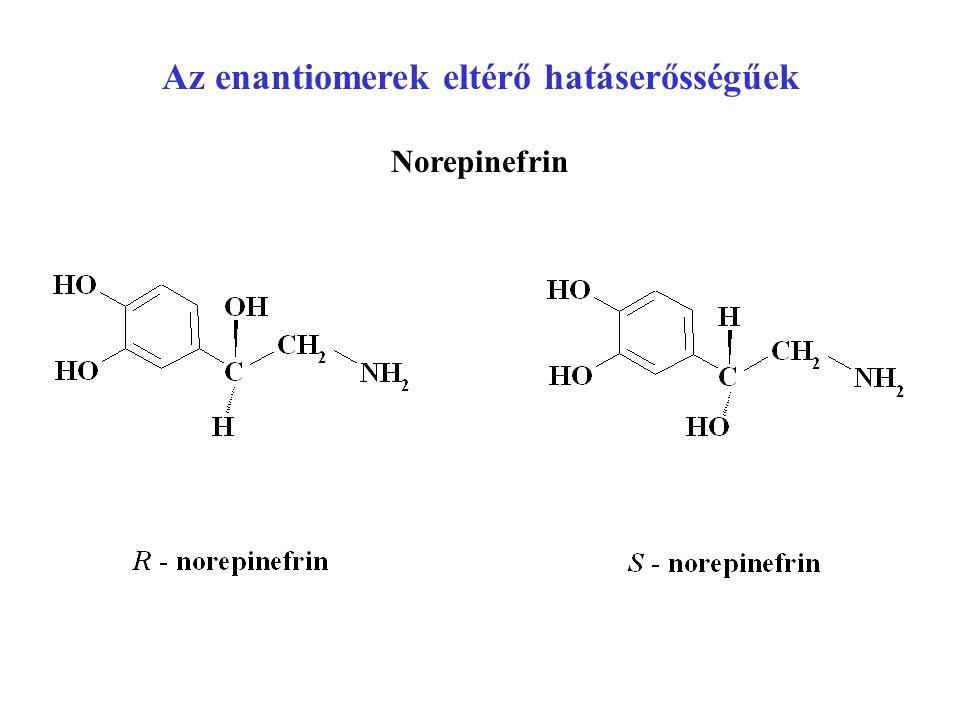 Az enantiomerek eltérő hatáserősségűek Norepinefrin