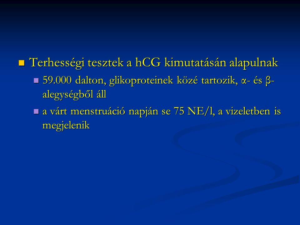 Terhességi tesztek a hCG kimutatásán alapulnak Terhességi tesztek a hCG kimutatásán alapulnak 59.000 dalton, glikoproteinek közé tartozik, α- és β- al