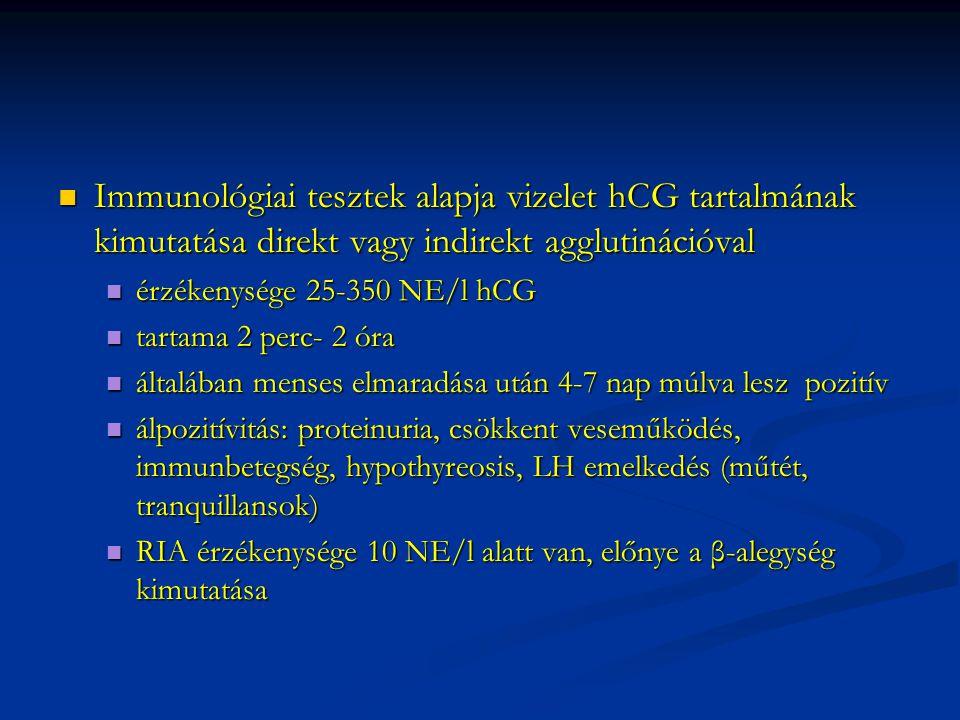 Immunológiai tesztek alapja vizelet hCG tartalmának kimutatása direkt vagy indirekt agglutinációval Immunológiai tesztek alapja vizelet hCG tartalmána