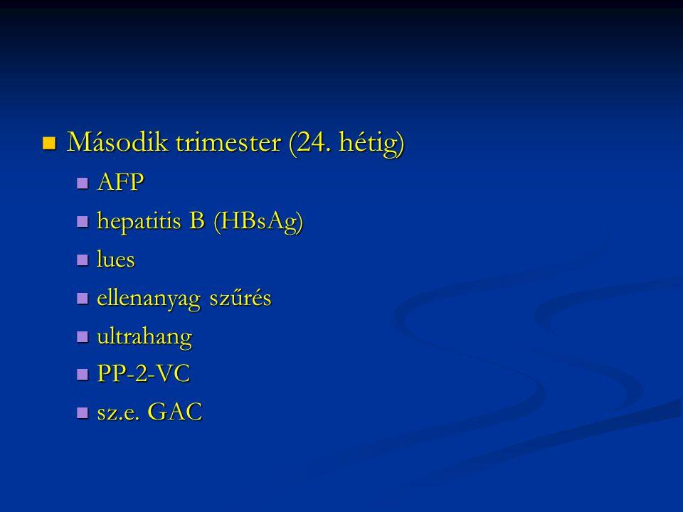 Második trimester (24. hétig) Második trimester (24. hétig) AFP AFP hepatitis B (HBsAg) hepatitis B (HBsAg) lues lues ellenanyag szűrés ellenanyag szű