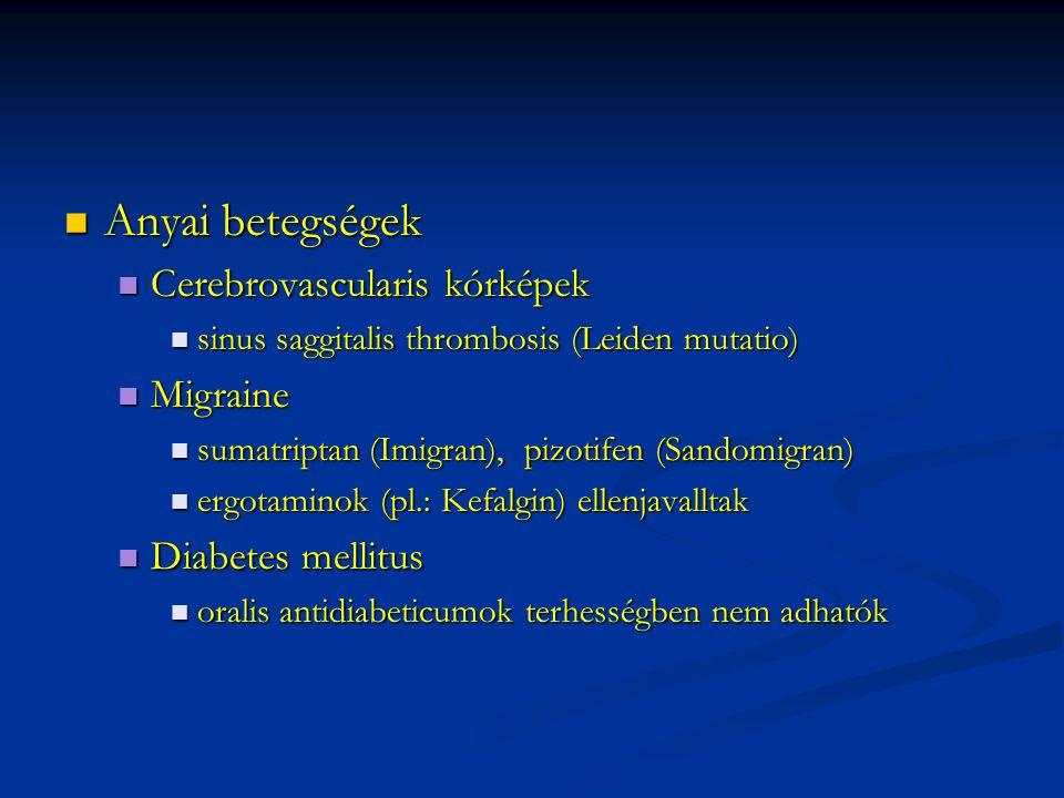 Anyai betegségek Anyai betegségek Cerebrovascularis kórképek Cerebrovascularis kórképek sinus saggitalis thrombosis (Leiden mutatio) sinus saggitalis thrombosis (Leiden mutatio) Migraine Migraine sumatriptan (Imigran), pizotifen (Sandomigran) sumatriptan (Imigran), pizotifen (Sandomigran) ergotaminok (pl.: Kefalgin) ellenjavalltak ergotaminok (pl.: Kefalgin) ellenjavalltak Diabetes mellitus Diabetes mellitus oralis antidiabeticumok terhességben nem adhatók oralis antidiabeticumok terhességben nem adhatók