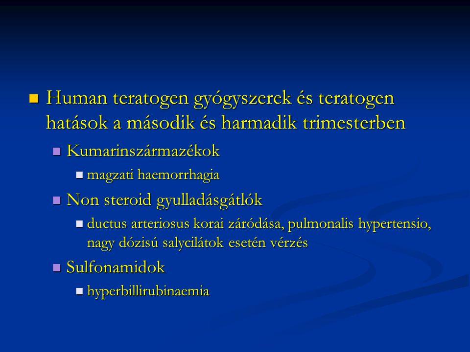Human teratogen gyógyszerek és teratogen hatások a második és harmadik trimesterben Human teratogen gyógyszerek és teratogen hatások a második és harm