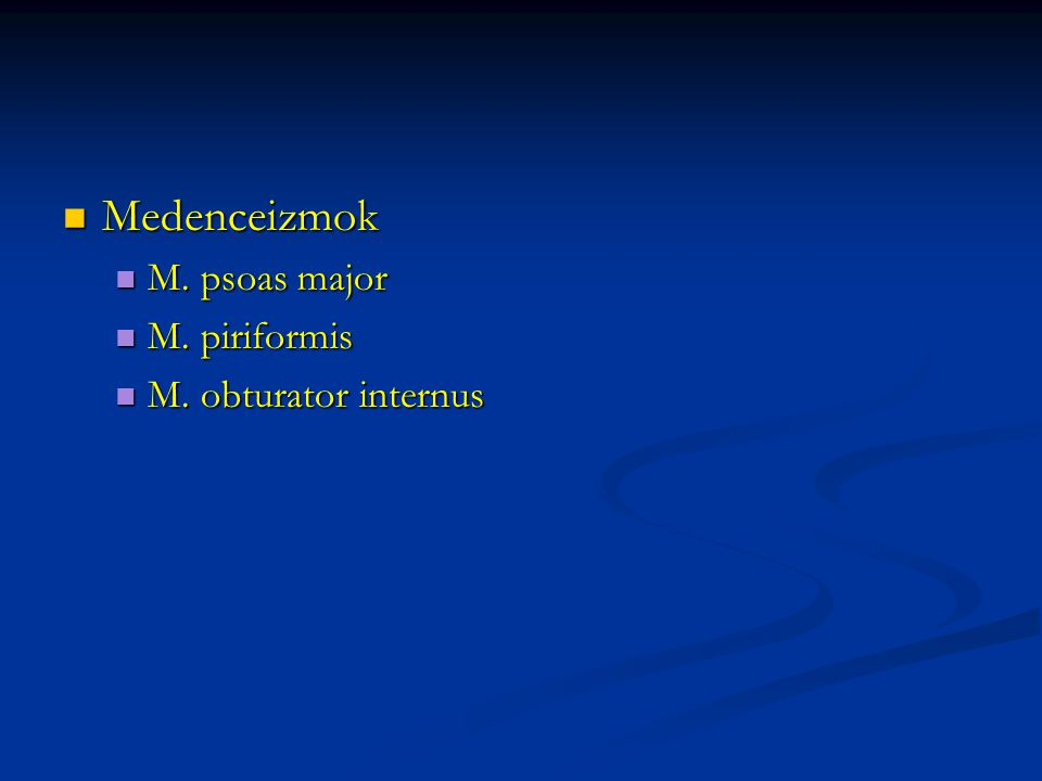 Medenceizmok Medenceizmok M. psoas major M. psoas major M.