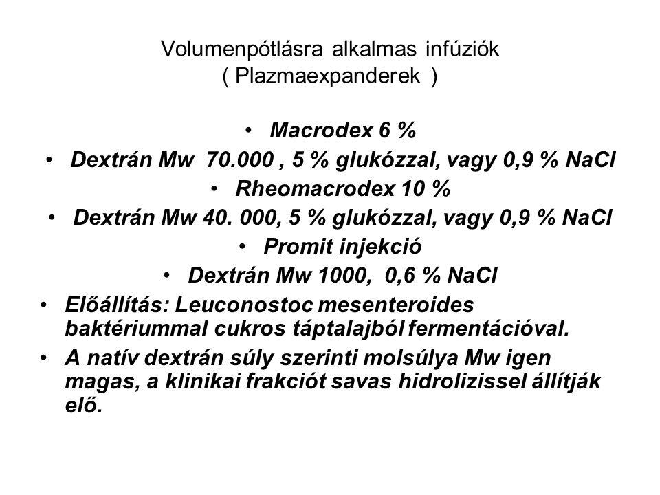 Volumenpótlásra alkalmas infúziók ( Plazmaexpanderek ) Macrodex 6 % Dextrán Mw 70.000, 5 % glukózzal, vagy 0,9 % NaCl Rheomacrodex 10 % Dextrán Mw 40.