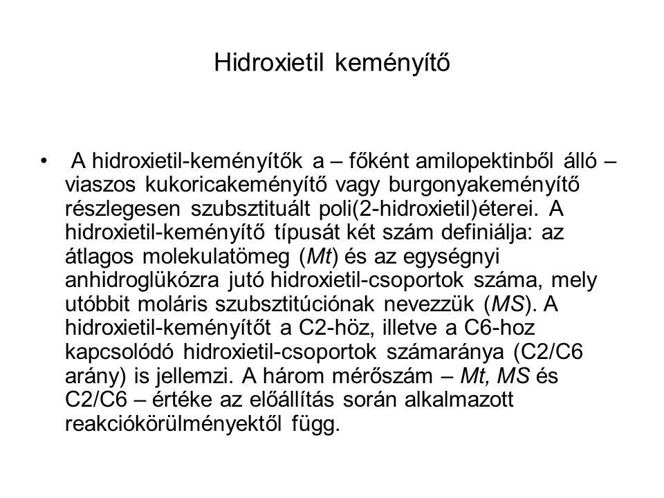 Hidroxietil keményítő A hidroxietil-keményítők a – főként amilopektinből álló – viaszos kukoricakeményítő vagy burgonyakeményítő részlegesen szubsztit