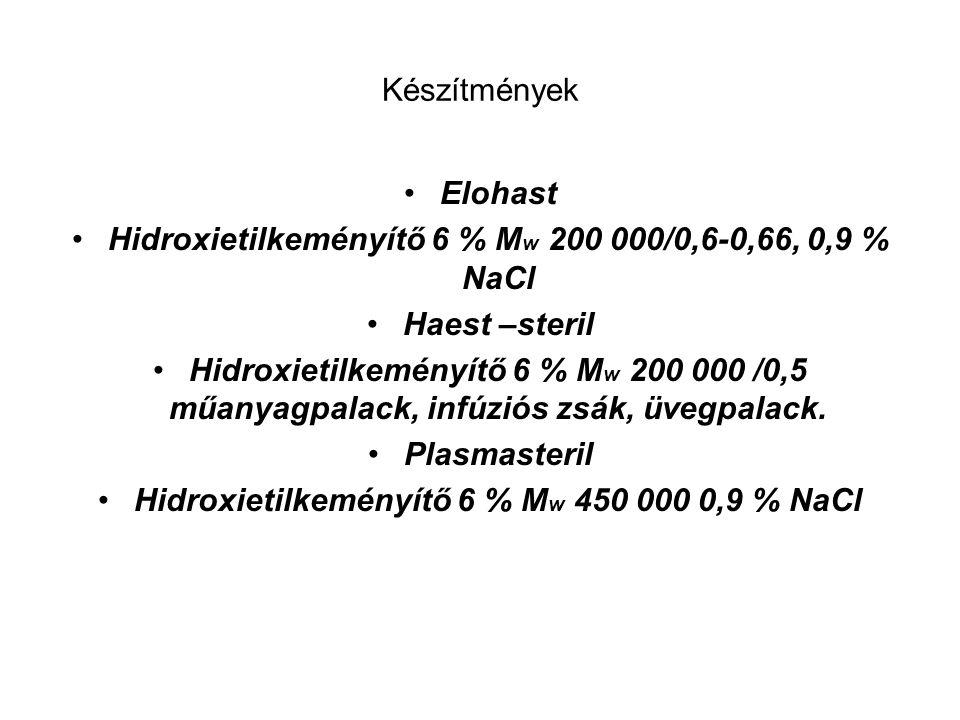 Készítmények Elohast Hidroxietilkeményítő 6 % M w 200 000/0,6-0,66, 0,9 % NaCl Haest –steril Hidroxietilkeményítő 6 % M w 200 000 /0,5 műanyagpalack,
