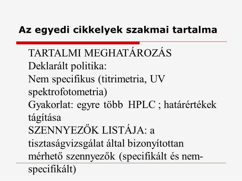 Az egyedi cikkelyek szakmai tartalma TARTALMI MEGHATÁROZÁS Deklarált politika: Nem specifikus (titrimetria, UV spektrofotometria) Gyakorlat: egyre több HPLC ; határértékek tágítása SZENNYEZŐK LISTÁJA: a tisztaságvizsgálat által bizonyítottan mérhető szennyezők (specifikált és nem- specifikált)