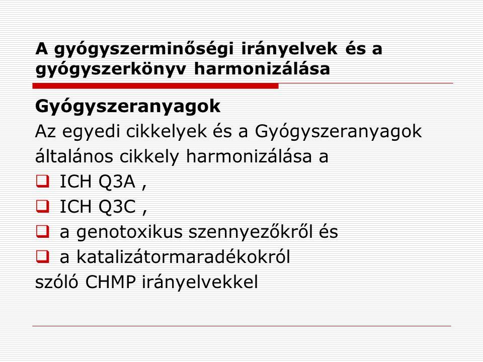 A gyógyszerminőségi irányelvek és a gyógyszerkönyv harmonizálása Gyógyszeranyagok Az egyedi cikkelyek és a Gyógyszeranyagok általános cikkely harmonizálása a  ICH Q3A,  ICH Q3C,  a genotoxikus szennyezőkről és  a katalizátormaradékokról szóló CHMP irányelvekkel