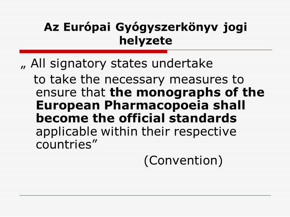 Az Európai Gyógyszerkönyv szerkesztése EurópaTanács Miniszterek Tanácsa Európai Gyógyszerkönyvi Bizottság Szakértői csoportok és Munkabizottságok Európai Gyógyszerkönyvi Titkárság EDQM and HC DIV I.