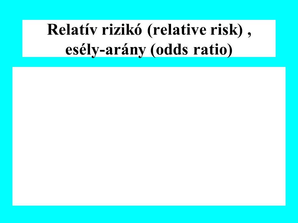 Relatív rizikó (relative risk), esély-arány (odds ratio)