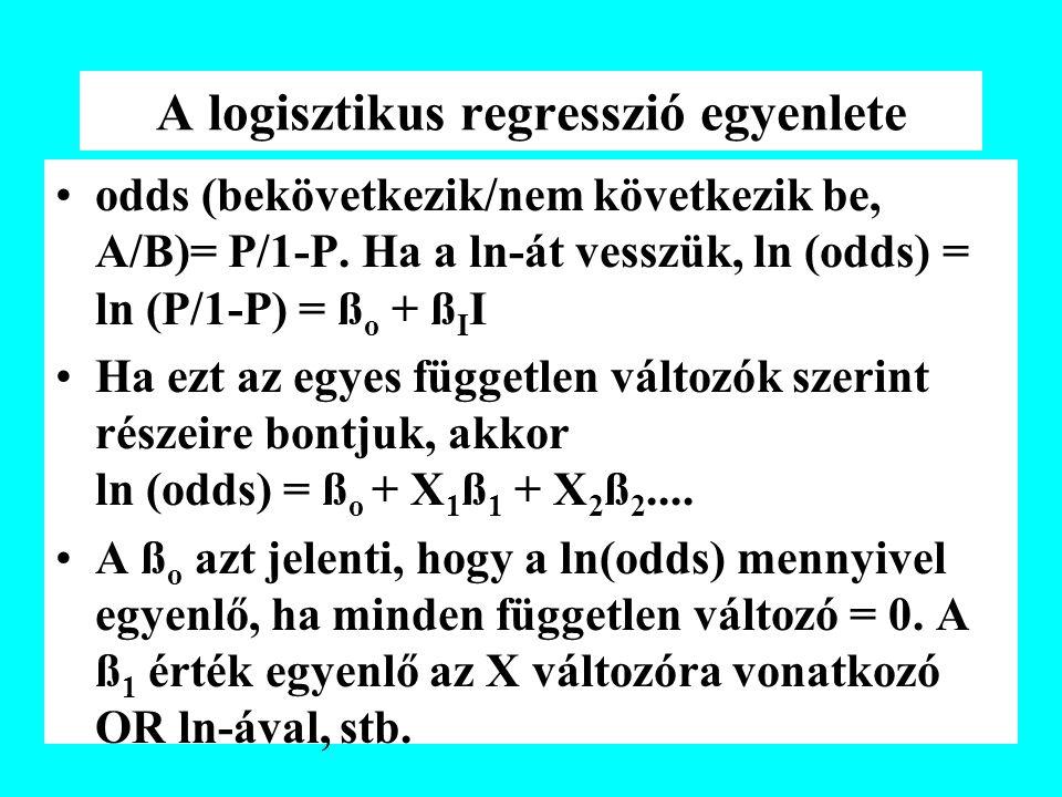 A logisztikus regresszió egyenlete odds (bekövetkezik/nem következik be, A/B)= P/1-P. Ha a ln-át vesszük, ln (odds) = ln (P/1-P) = ß o + ß I I Ha ezt