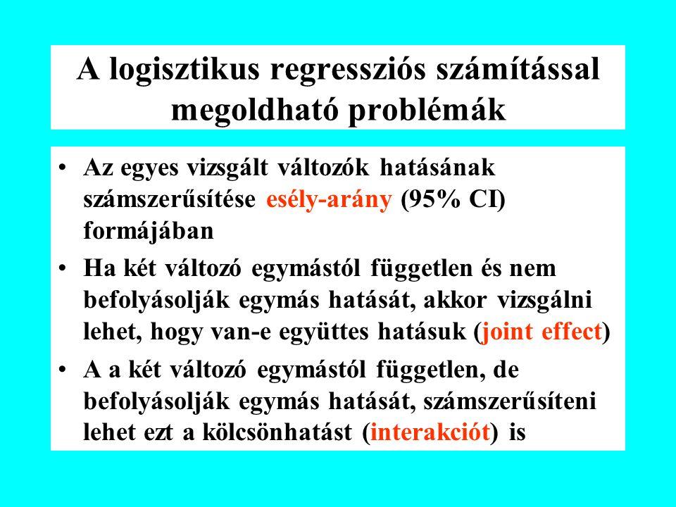 A logisztikus regressziós számítással megoldható problémák Az egyes vizsgált változók hatásának számszerűsítése esély-arány (95% CI) formájában Ha két változó egymástól független és nem befolyásolják egymás hatását, akkor vizsgálni lehet, hogy van-e együttes hatásuk (joint effect) A a két változó egymástól független, de befolyásolják egymás hatását, számszerűsíteni lehet ezt a kölcsönhatást (interakciót) is
