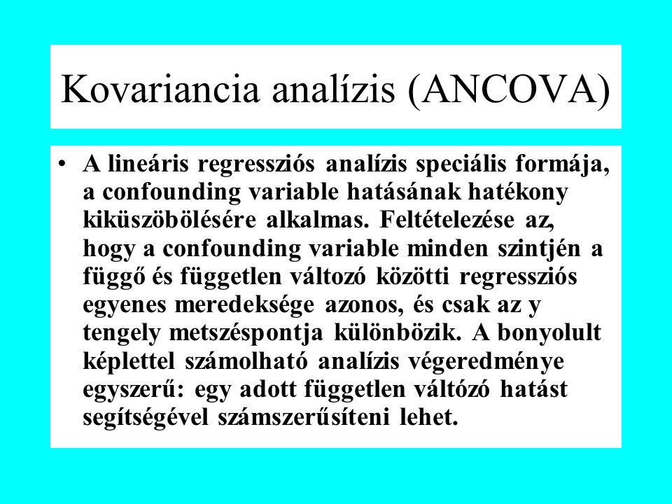 Kovariancia analízis (ANCOVA) A lineáris regressziós analízis speciális formája, a confounding variable hatásának hatékony kiküszöbölésére alkalmas.