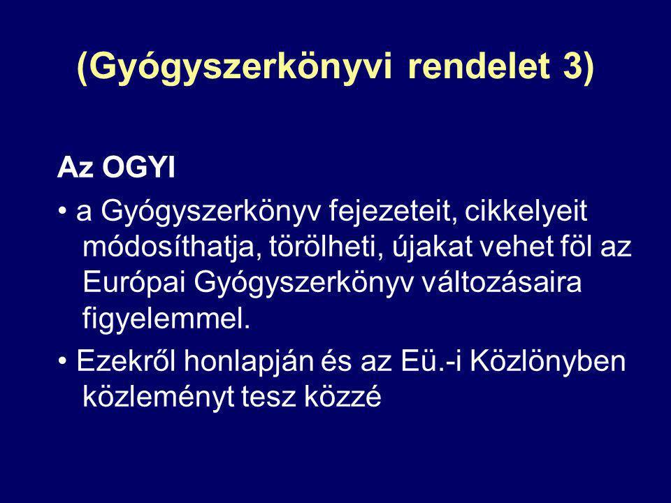 (Gyógyszerkönyvi rendelet 3) Az OGYI a Gyógyszerkönyv fejezeteit, cikkelyeit módosíthatja, törölheti, újakat vehet föl az Európai Gyógyszerkönyv válto