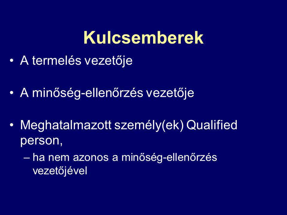 Kulcsemberek A termelés vezetője A minőség-ellenőrzés vezetője Meghatalmazott személy(ek) Qualified person, –ha nem azonos a minőség-ellenőrzés vezető