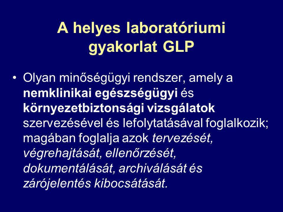 A helyes laboratóriumi gyakorlat GLP Olyan minőségügyi rendszer, amely a nemklinikai egészségügyi és környezetbiztonsági vizsgálatok szervezésével és