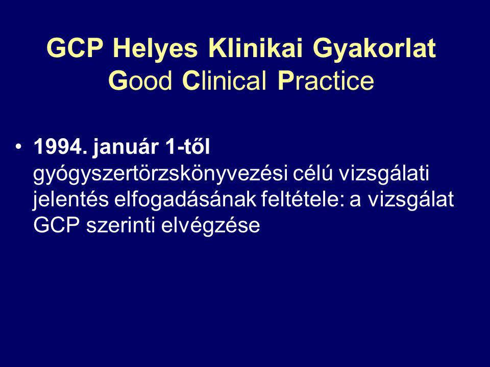 GCP Helyes Klinikai Gyakorlat Good Clinical Practice 1994. január 1-től gyógyszertörzskönyvezési célú vizsgálati jelentés elfogadásának feltétele: a v