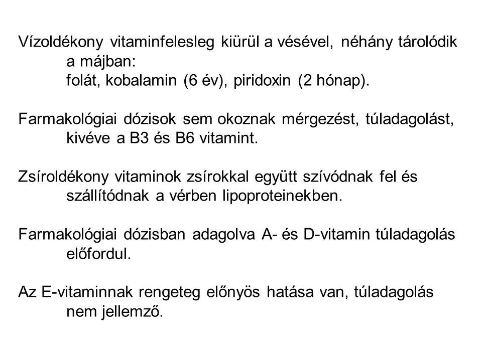 Vízoldékony vitaminfelesleg kiürül a vésével, néhány tárolódik a májban: folát, kobalamin (6 év), piridoxin (2 hónap). Farmakológiai dózisok sem okozn