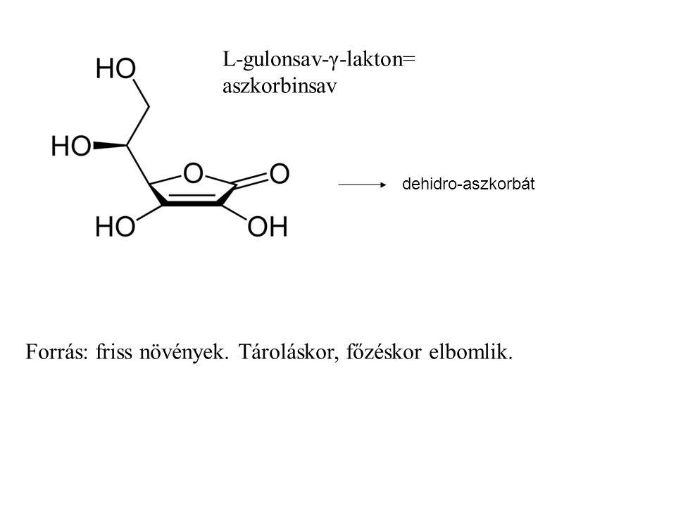 Forrás: friss növények. Tároláskor, főzéskor elbomlik. L-gulonsav-γ-lakton= aszkorbinsav dehidro-aszkorbát