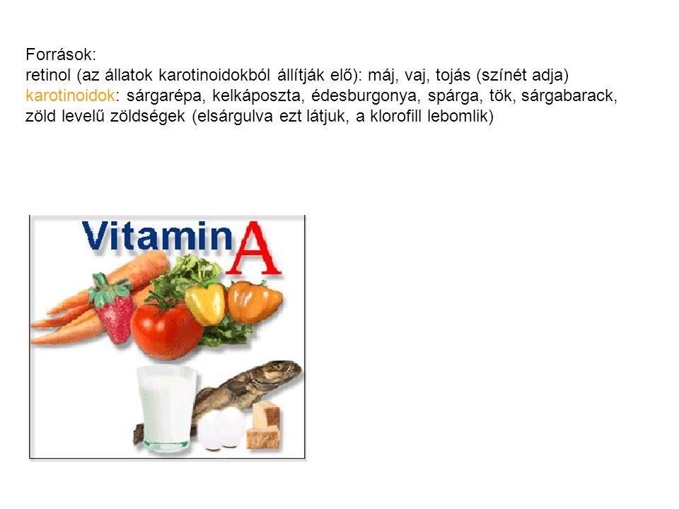 Források: retinol (az állatok karotinoidokból állítják elő): máj, vaj, tojás (színét adja) karotinoidok: sárgarépa, kelkáposzta, édesburgonya, spárga,