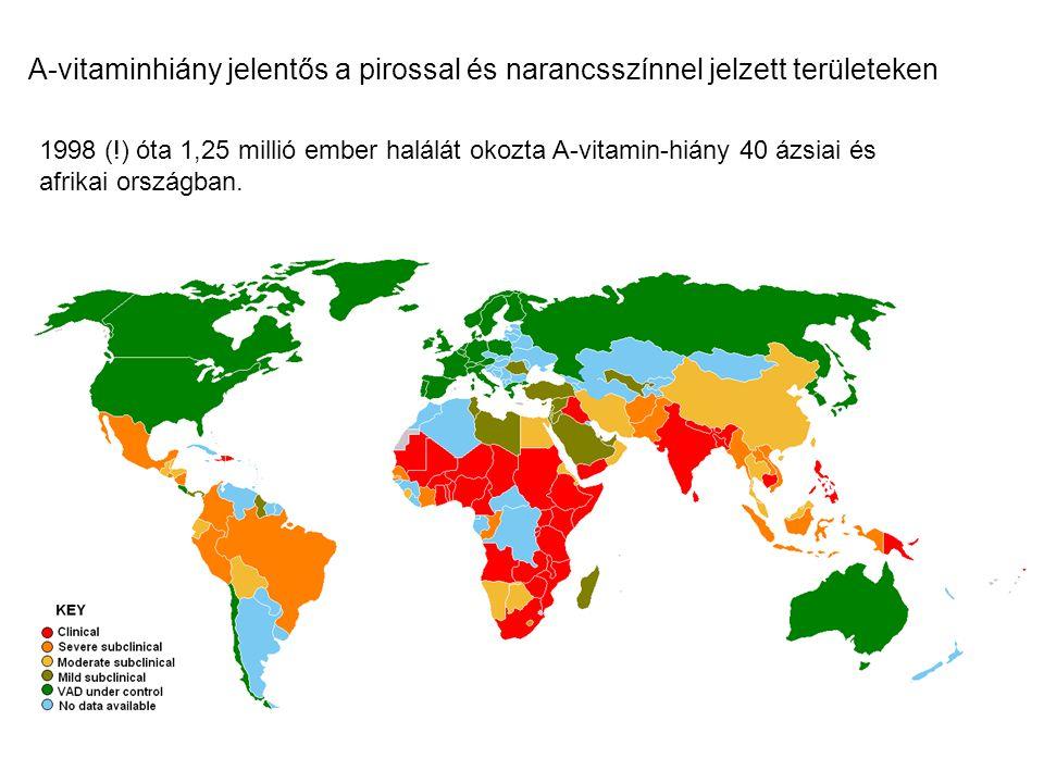 A-vitaminhiány jelentős a pirossal és narancsszínnel jelzett területeken 1998 (!) óta 1,25 millió ember halálát okozta A-vitamin-hiány 40 ázsiai és af