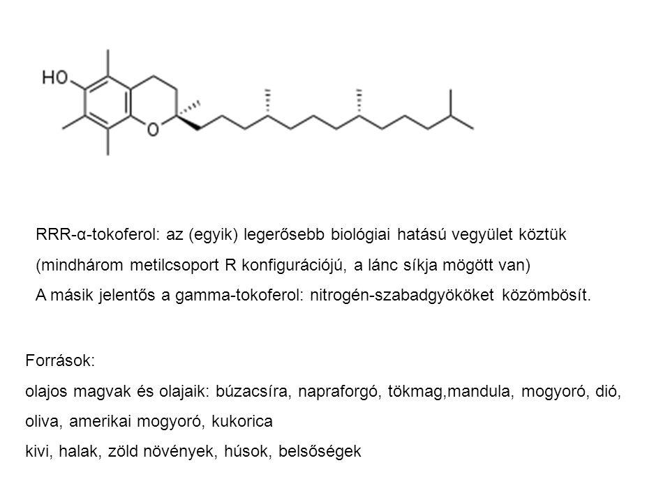 RRR-α-tokoferol: az (egyik) legerősebb biológiai hatású vegyület köztük (mindhárom metilcsoport R konfigurációjú, a lánc síkja mögött van) A másik jel